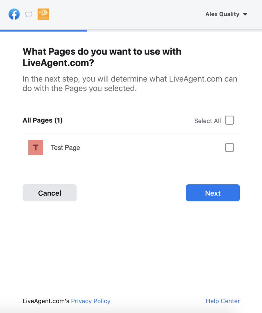 Selection of Facebook pages in LiveAgent configuration