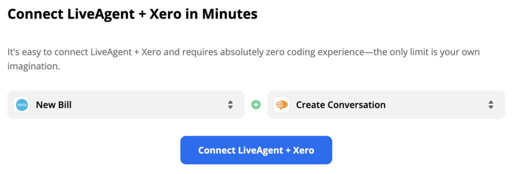 New bill trigger and create conversation action in LiveAgent and Xero integration