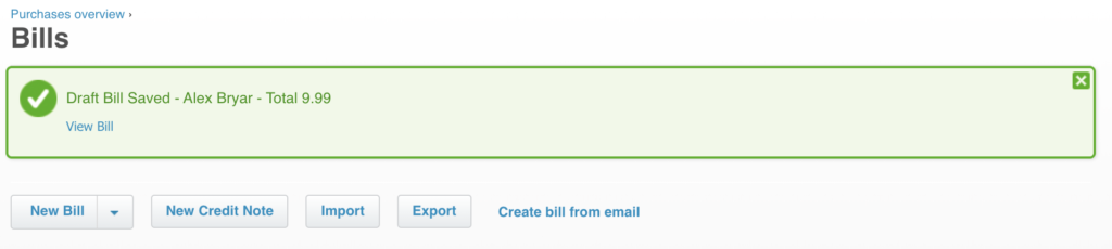 A new bill added to Xero for LiveAgent integration test