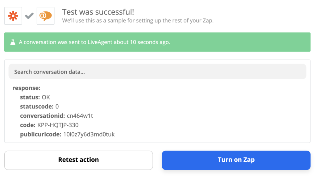 A successful test of a Xero and LiveAgent integration on Zapier