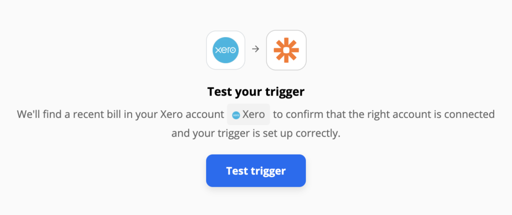 Xero trigger test on Zapier integrations