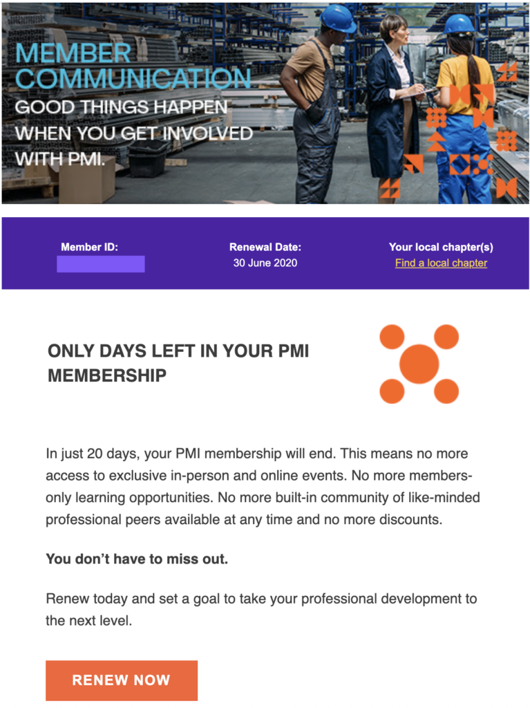 Renewal email template PMI