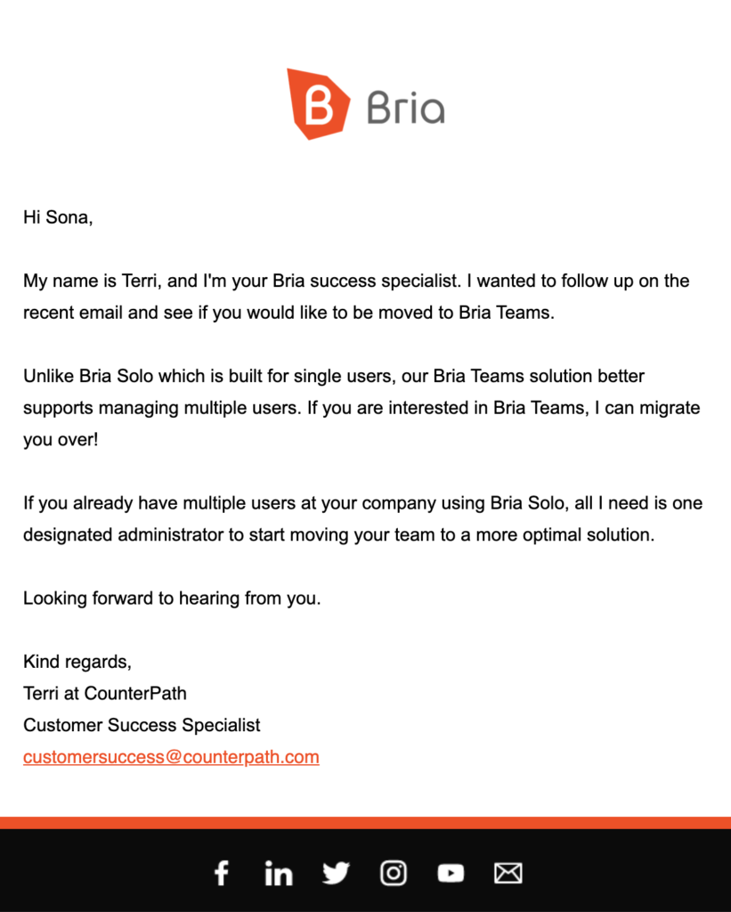 customer service follow-up email Bria