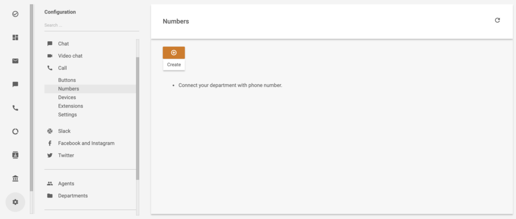 LiveAgent call configuration with create phone number option