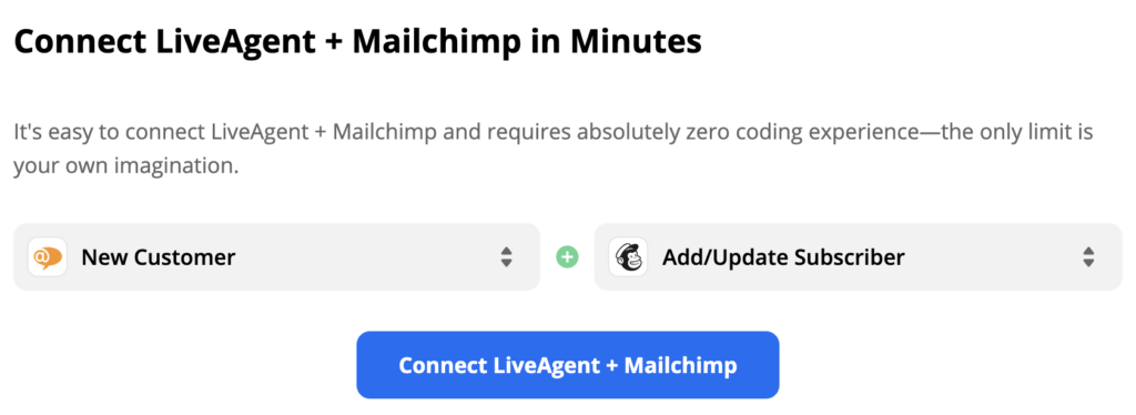 Selected LiveAgent trigger and Mailchimp action