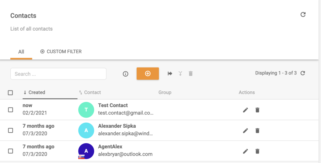 A new contact added to LiveAgent contact list