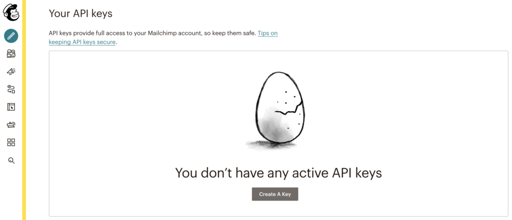 Create an API key in Mailchimp to integrate with LiveAgent