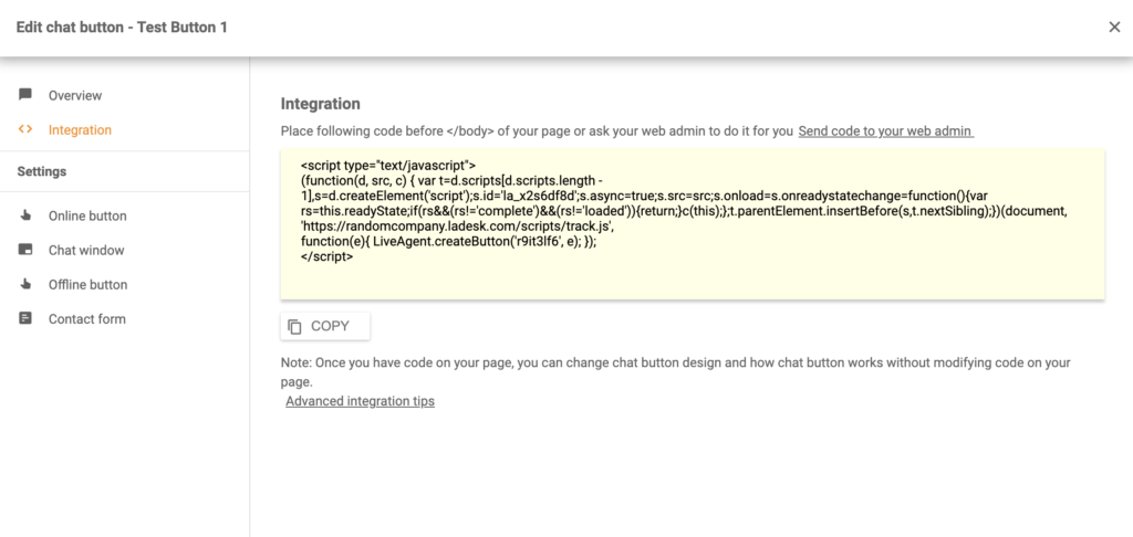 A chat button code generated in LiveAgent