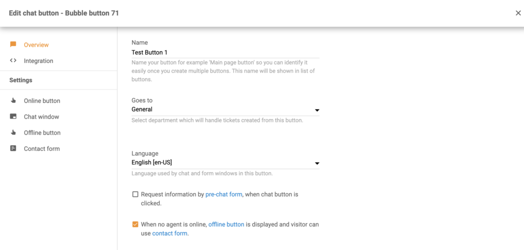 Chat button configuration as a part of Volusion integration