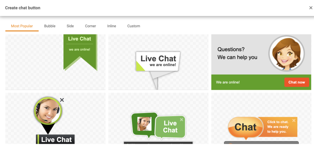 Selection of chat buttons in LiveAgent's chat button gallery