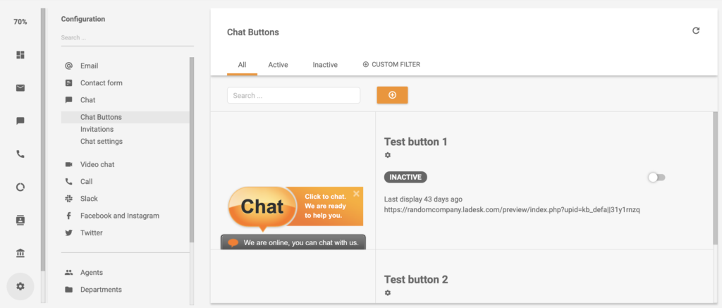 Chat button section in LiveAgent configuration